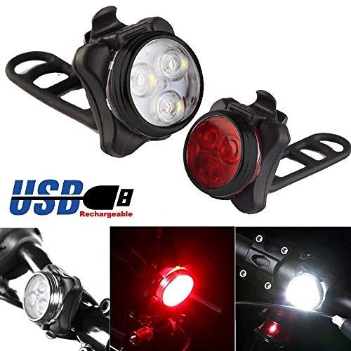 TriLance LED Fahrradbeleuchtung Fahrradlicht,Radfahren Fahrrad Fahrrad 3 LED Kopf Vorne USB Wiederaufladbare Rücklicht Lampe Aufladbare Fahrradlichter Fahrradlampe Fahrradlicht (Black) (A)