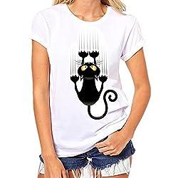 SKY Celebre por el Día del Vino!!! Las señoras forman impreso camiseta blanca Cotton Plus Size Short Sleeve gato Print Tees Shirt S~XXXL (M, Blanco)