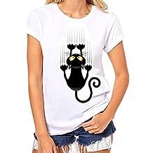 SKY Celebre por el Día del Vino!!! Las señoras forman impreso camiseta blanca Cotton Plus Size Short Sleeve gato Print Tees Shirt S~XXXL
