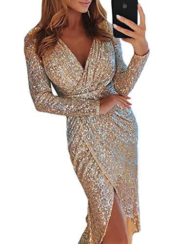 Dearlove Damen Elegant Pailletten Wrapped Asymmetrisch Kleider Tief V Ausschnitt Glitzer Abendkeider für Hochzeit Festlich Apricot S