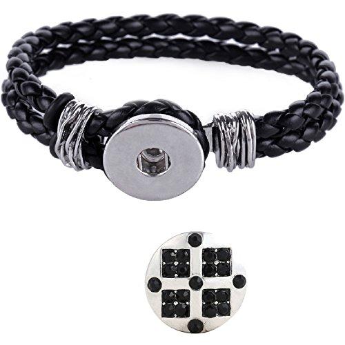 Morella Click-button Set con fibre donna cinturino nero e bottone