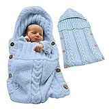 Minetom Bébé Fille et Garçon Mignon Hiver Gigoteuses Confortable Sac de Couchage Tricoter Double Couche Multicolore pour Nouveau-né 0-12 Mois Bleu 72X35 CM