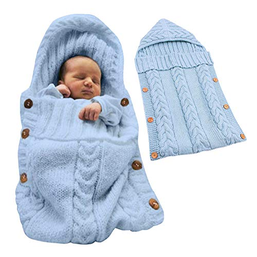 Tomwell Bébé Fille et Garçon Mignon Hiver Gigoteuses Confortable Sac de Couchage Tricoter Double Couche Multicolore pour Nouveau-né 0-12 Mois Bleu 72X35 CM