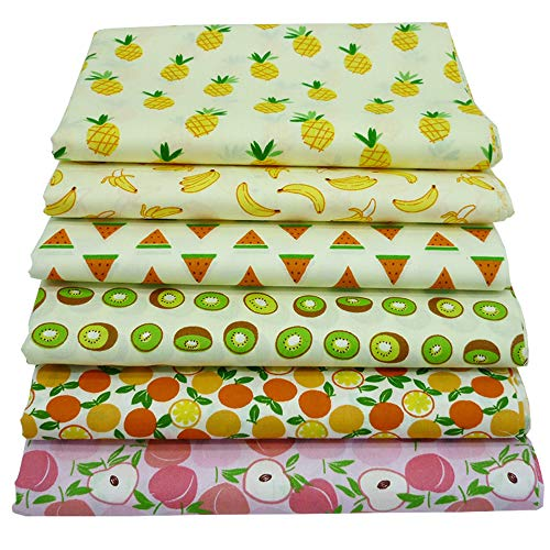 YYSZ 6 Stück Fat Quarters Quilten Stoffbündel, 46x56 cm Obst gedruckt Baumwollgewebe zum Quilten Nähen Patchwork, 18