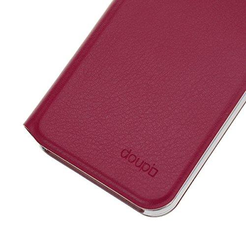 iPhone SE / 5S / 5C / 5 Flip Hülle, doupi FlipCover Deluxe Magnet Schutzhülle Book Style Ständer Case, schwarz Rot