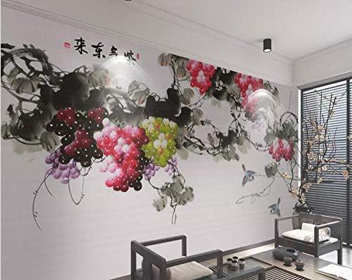 ZCHENG Tapete Wohnzimmer Schlafzimmer Wandbild neuen chinesischen Stil handbemalt lila Gas Duft Traube Hintergrund-AS, 430x300 cm (169.3 von 118.1 in)