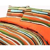 Waves Multi-colour Reversible Cotton Blend Duvet Cover Pillowcase Bedding Set (Double, Orange)
