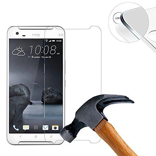 Lusee 2 X Pack Panzerglasfolie für HTC ONE X9 5.5 Zoll Tempered Glass Hartglas Schutzfolie Folie Bildschirmschutz 9H (Nur den flachen Teil abdecken)