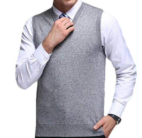 ZGJQ Herren Weste Pullover Pullover Sleeveless Pullover Beiläufige Strickjacke Einfarbig Wolle Weste Mittleren ärmellose Weste,Grey1-XL -