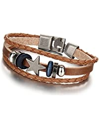 Home Market Imported Vintage Punk Design Star Leather Bracelet For Women & Men (Brown)