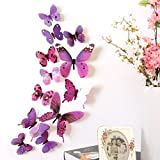 Wall Stickers ,Diadia 12pcs 3D Butterfly Removable Mural Stickers Wall Stickers Decal Wall Decor Home Decor Kids Room Bedroom Decor Living Room Decor for Christmas, Wedding,Birthday, Anniversary, Engagement (Purple)