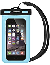 Funda Impermeable Móvil Luxebell Carcasa Teléfono Universal Impermeable 25m IPX8 para Apple iPhone 6S 6,6S Plus, 5S 7, Samsung Galaxy S7, S6 Note 5 4, HTC LG Sony Nokia Motorola (Azul)