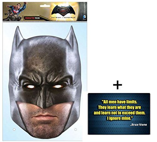 Batman Dawn of Justice /Justice League Ben Affleck Single Karte Partei Gesichtsmasken (Maske) Enthält 6X4 (15X10Cm) starfoto (Batman Ben Affleck Kostüm)
