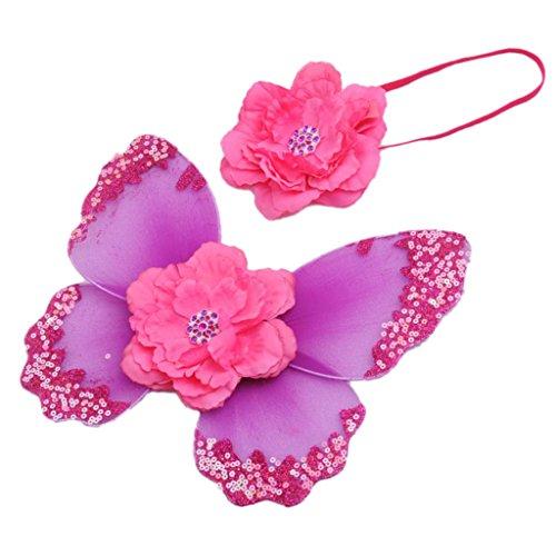 Neugeborene baby fotoshooting Fotografie Kostüm Blumen Stirnband Butterfly Wings - Lila, one size ()