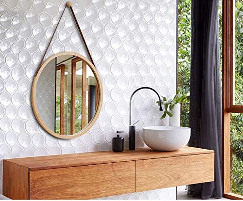 ChuanHan Hotel Europeo Espejo de Baño Espejo de Baño Nordic Decorativo Espejo Redondo Colgante de Pared Espejo de Maquillaje, Color bambú, Espejo Redondo pequeño
