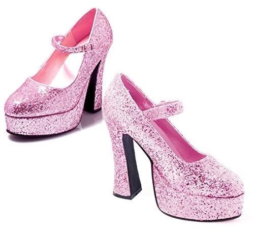 Donna bianco brevetto Mary Jane scarpe Pink Glitter