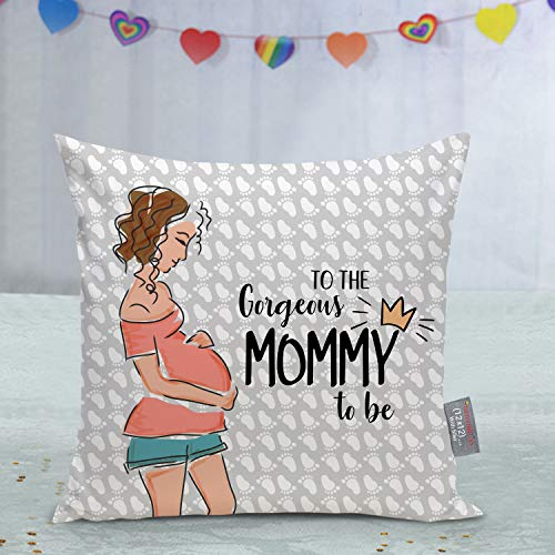 TIED RIBBONS Gift for Baby Shower for to Be Mom Pregnant Sister Wife Printed Cushion (12 inch x 12 inch) with Filler