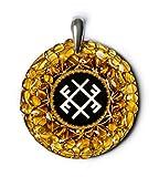 Thunder - ámbar amuleto con Ancient Báltico señal para la espiritualidad y felicidad. Hecho a mano collar - espiritual New Age Pagan Báltico