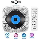 Lettore DVD Portatile, Lettore CD Portatile Bluetooth Montabile a Parete, Altoparlante HiFi Integrato, HDMI per Collegamento TV, Radio FM e Lettore USB
