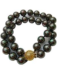 Schmuckwilly Muschelkernperlen Perlenarmband Perlen - Muschelkernperlen Armband 2-reihig schwarz Hochwertige mb0043