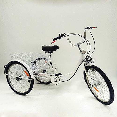 FLYHERO Triciclo Blanco para Adultos, 24'Carretilla de la lámpara de la travesía de Trike del Cargo de la Bicicleta de 3 Ruedas 3
