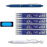 Lot Pilot Frixion Ball azul + 4Paquetes De 3recargas + goma Frixion + bolígrafo blumie Shop