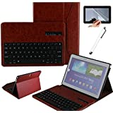 """Eagwell Detachable Removable Wireless Bluetooth Keyboard Leather Case Cover For Samsung Galaxy Note 10.1"""" 10.1 Inch 2014 Edition Tablet SM-P600 SM-P601 SM-P605 (Brown)"""