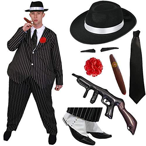 NADELSTREIFEN KOSTÜM VERKLEIDUNGS Gangster Anzug FÜR MÄNNER = ERHÄLTLICH IN 5 VERSCHIEDENEN GRÖSSEN= DAS PERFEKTE KOSTÜM FÜR Fasching UND Karneval ODER Halloween Party= Fetter Gangster (Anzug Männer 1920)