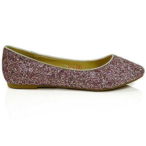 ESSEX GLAM Scarpa Donna Glitter Tacco Piatto Matrimonio Festa Multi Rosa Glitter