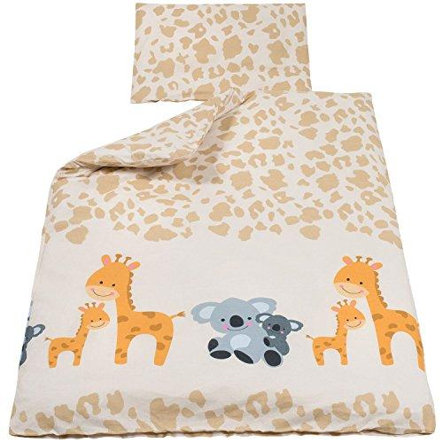 Baby Bettwäsche Baumwolle Giraffe & Koala ca. 100x135 cm & 40x60 cm,OekoTex Standard 100 aus 100% Baumwolle (Giraffe Bettwäsche)