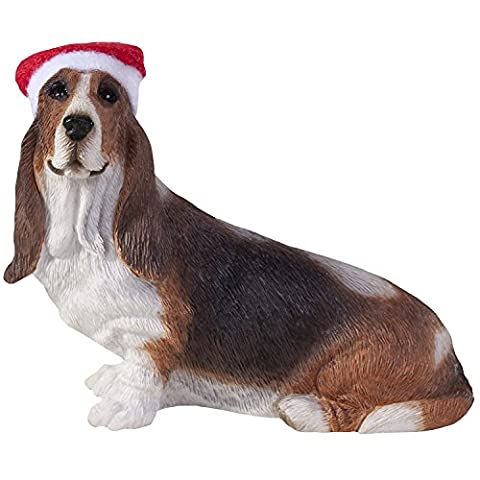 Sandicast Verzierung Basset Hound mit Sankt-Hut Weihnachtsverzierung (XSO07103) Sandicast ornament Basset Hound with Santa Hat Christmas Ornament (XSO07103)