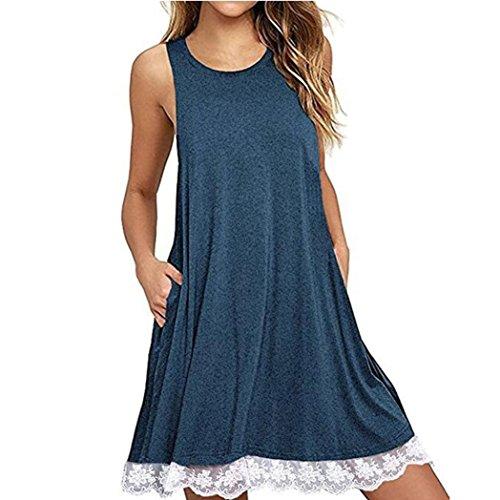 Longra Damen Sommerkleider Ärmellos Spitzenkleider Stretch Basic Kleider Shirtkleid Freizeitkleid Damen Tank Tops Longshirts mit Lace Tunika kleider Kinelang Strandkleid Kurz Minikleid (Blue, 2XL)