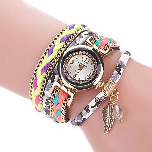 Ogquaton Pastoralen Stil mehrschichtige Braid Strap Armband Quarz-Armbanduhr für Frauen langlebig und nützlich -