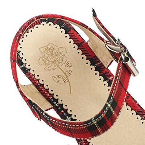 VogueZone009 Damen Offener Zehe Hoher Absatz Pu Leder Gemischte Farbe Schnalle Sandalen Rot