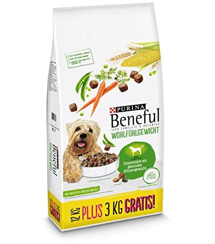 Purina Beneful Hundetrockenfutter Wohlfühlgewicht (mit Huhn, Gartengemüse und Vitaminen) 12+3kg Overfill Sack