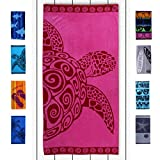 DecoKing 20456 Strandtuch 90x180 cm Baumwolle Frottee Velours Badetuch Duschtuch Fuchsia rosa rot Pink Turtle
