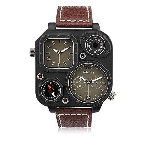 Hongboom Bande de cuir véritable de deux mouvements Boussole montre bracelet Homme décontracté Entreprise montres à quartz analogique Mode Robe Montre-bracelet