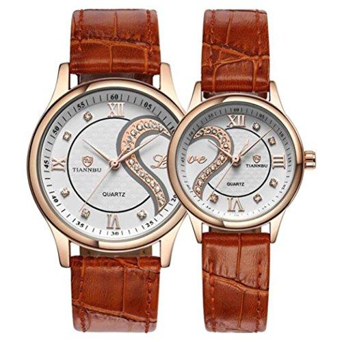 Pocciol Everyone Love Armbanduhr, 1 Paar, Tiannbu Ultradünnes Leder, romantische Paar-Armbanduhren, Case Size:35m(Men),25mm(Women), Gold -