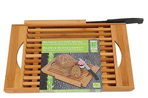 DRULINE Bambus Schneidebrett mit Brotmesser und Auffangschale Holzbrett Brot Schneidbrett Bambusholz