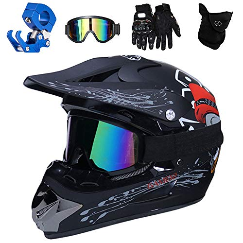 QYTK® Motorrad Crosshelm Kinder, Schwarz Schädel All Terrain Full Face Motocross Enduro Downhill MTB Helm mit Brille Maske Handschuhe Helmhaken Motorradhelm für Mountainbike Moped Sport,L(56~57CM)