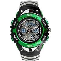 SunJas Orologio Impermeabile da Polso Sportivo Digitale Uomo Calendario Verde - Prova Perfetta