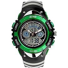SunJas - Reloj de pulsera deportivo para mujer o niña, digital, electrónico, con calendario, sumergible, color verde