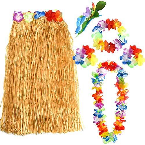 FEPITO 1 Set Hawaiian Gras Hula Rock mit Blume Leis Halskette Stirnband Armbänder Kleid Kostüm Set für Mädchen Frau Luau Hawaiian Dance Rock Party Gefälligkeiten