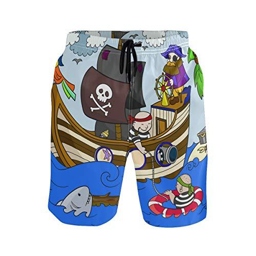 BONIPE Herren Badehose Cartoon Nautische Pirat Delphin Ocean Beach Quick Dry Boardshorts mit Kordelzug und Taschen Gr. XL, Mehrfarbig - Delfine-boxer-shorts
