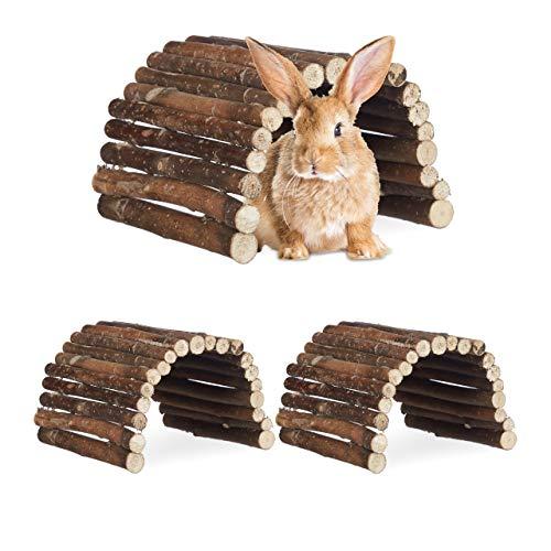 Relaxdays 3X Nagerbrücke Holz im Set, Tunnel für Kleintierkäfig, Hamster, Kaninchen, flexibel und biegsam, HBT 2 x 29 x 17cm