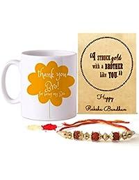 Tied Ribbons Rakhi Gift Pack For Brother (Designer Rakhi, Printed Coffee Mug, Rakshabandhan Special Card, Roli...