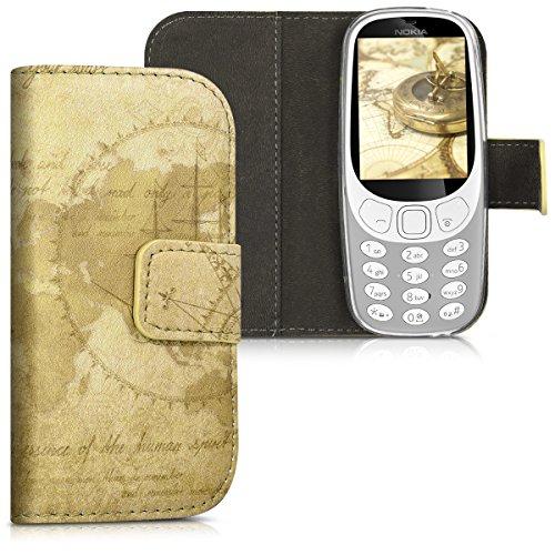 kwmobile Hülle für Nokia 3310 (2017) - Wallet Case Handy Schutzhülle Kunstleder - Handycover Klapphülle mit Kartenfach Weltkarte Vintage Design Braun Hellbraun