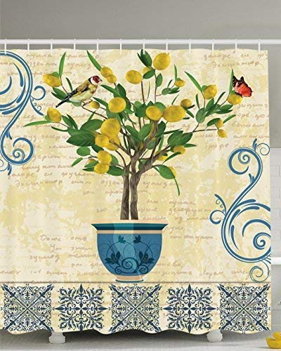 Lemons Decor Lemon Tree Birds Shower Curtain Traditional Tiles Paisley Monarch Butterfly Bird Vintage Style Floral Flowerpot Ceramic Vase Pattern Bathroom Decor, Ivory Yellow Green Blue Navy