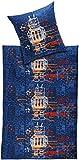 MERADISO® Kinder Feinbiber Bettwäsche, 100% Baumwolle (blau - Roboter / Raumschiff, 135 x 200 cm)