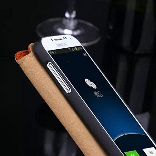 Galaxy S4 Ansicht Hülle,EVERGREENBUYING - Litschi Style Etui Handyhülle Für I9500 mit Sichtfenster - Aufklappbare Echtes Leder Schutzhülle im Flip Cover Style für Samsung GALAXY S4 Rosa Rot